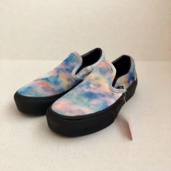 61d03512c875 Vans Slip-On Tie Dye   Black Velvet Platform Shoes